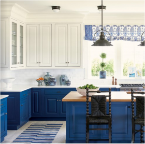 kitchen-design-in-Decatur -ga-cobalt-blue-base-cabinets-ivory-top-cabinets-butcher-block-island